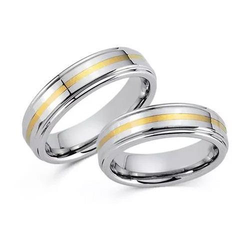 Schwarz Tungsten Ringe Gelbgold 585 20005