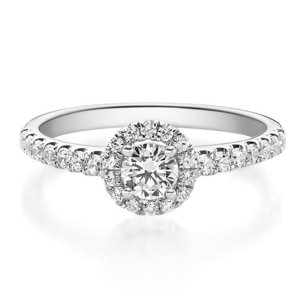 Rubin 1588 Halo Diamantring Weißgold