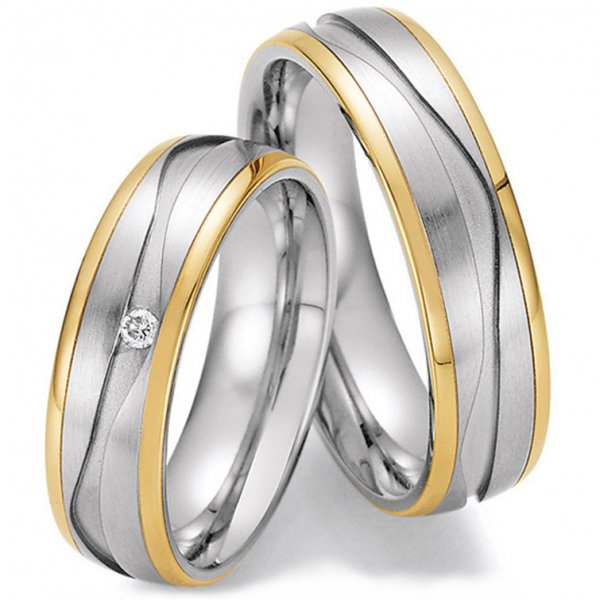 Collection Ruesch Trauringe Bicolor Gelbgold & Weißgold 88/01810 88/018020 White Style Steel and Gold 585 Brilliant