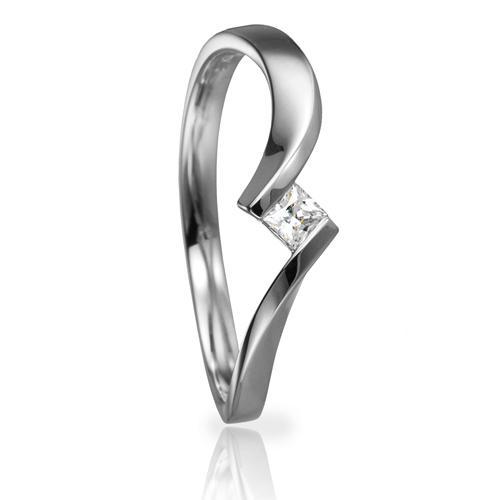 Solitaire Ring 82133 Prinzess 0,095 ct Weißgold