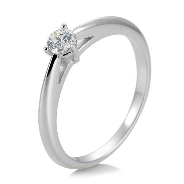 Breuning Solitärring Verlobungsring Weißgold Diamant 0.200 ct. w/si 3er Krappe 41/85868