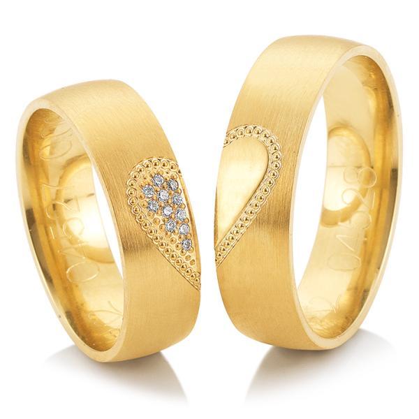 Trauringe Gelbgold Joy Breuning 48/04527 & 48/04528 Herz Perlen Brillanten