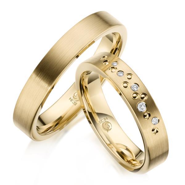 Rubin Trauringe Eheringe 1635 Gelbgold Gold