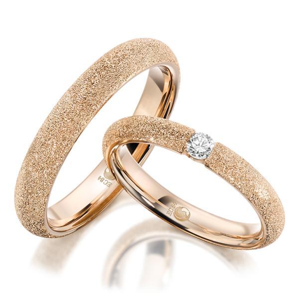 Rubin Trauringe 1610-1 Roségold diamantiert Brillant