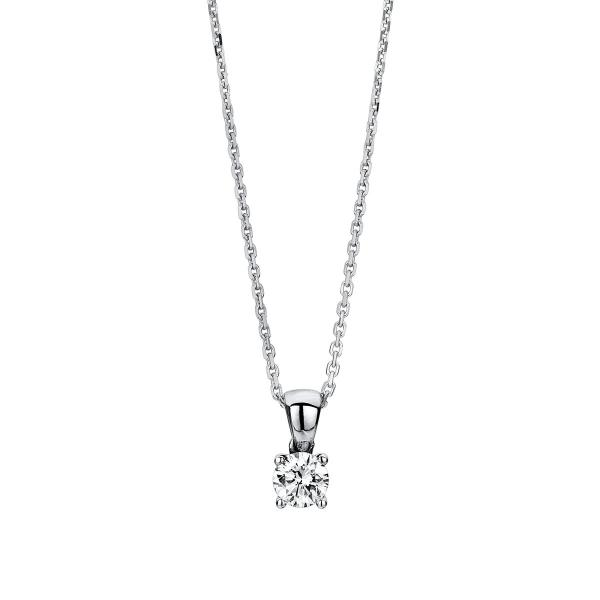 DiamondGroup Diamantcollier Collier 4er-Krappe 14 kt Weißgold, Zwischenöse 42 cm - 4A326W4-2