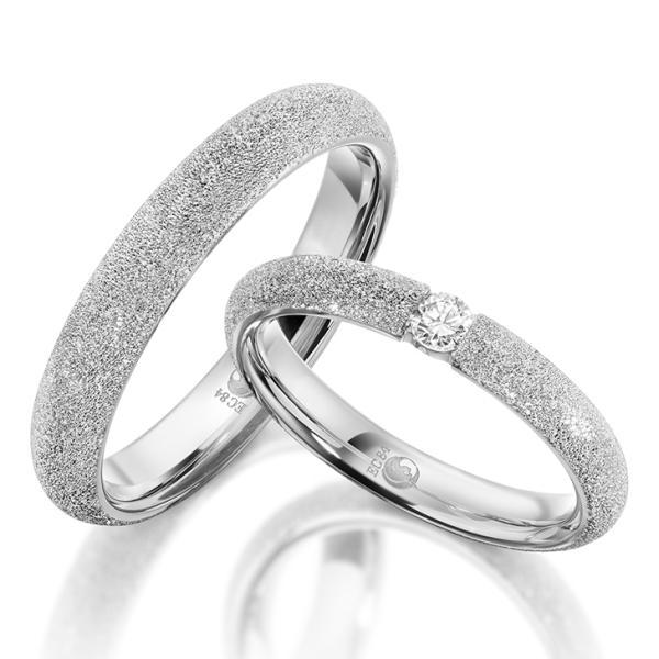 Rubin Trauringe 1610-2 Silber diamantiert Brillant