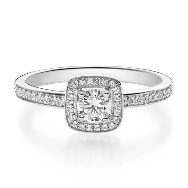 Rubin 1592 Halo Diamantring Weißgold 750