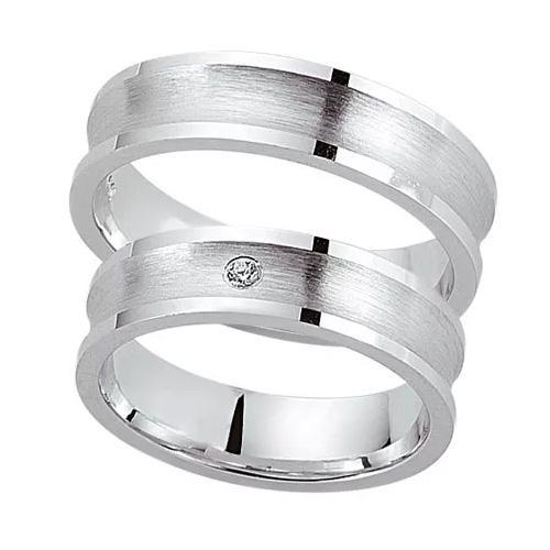 Schwarz Trauringe / Partnerringe Silber 925 Zirkonia SW925-049 Sterlingsilber feinmatt