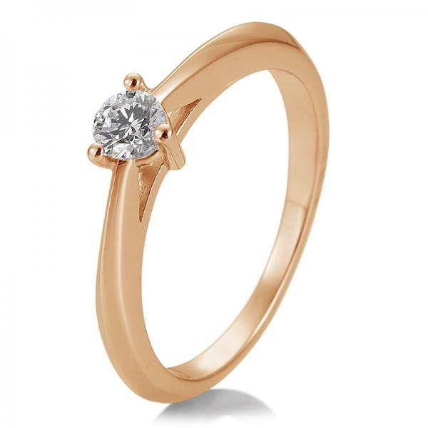 Breuning Solitärring Verlobungsring Rotgold Diamant 0.250 ct. w/si 3er Krappe 41/86624