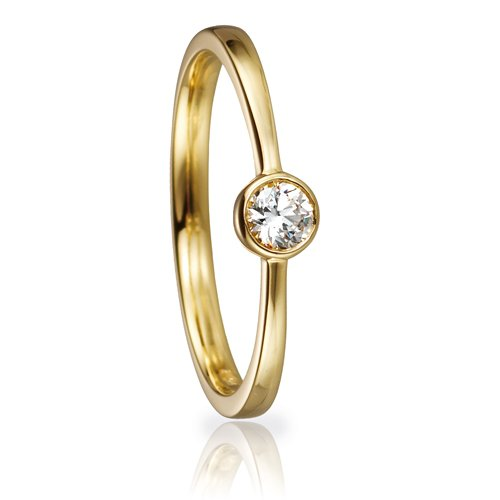 Solitaire Ring 82153 Brillant 0,15 ct Gelbgold