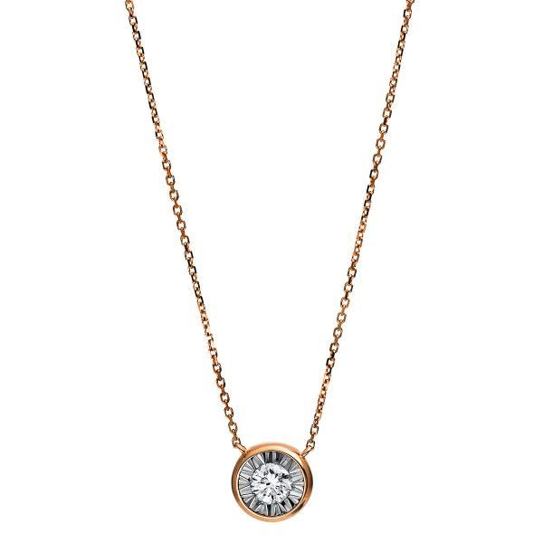 DiamondGroup Diamantcollier Collier Zarge 18 kt Rotgold - 4E210R8-1
