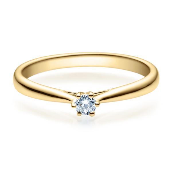 Rubin Verlobungsring 18007 Gelbgold Solitär Ring 0,100 ct. tw/si