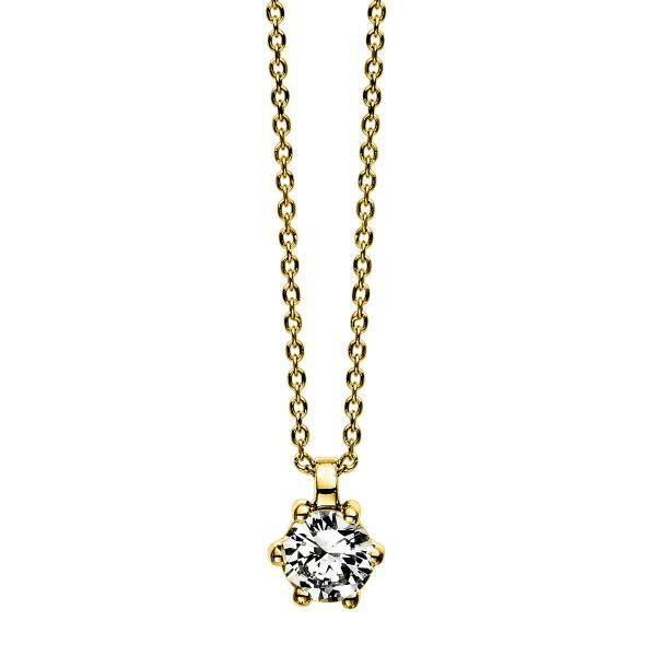 DiamondGroup Diamantcollier Collier 6er-Krappe 18 kt Gelbgold - 4D280G8-1