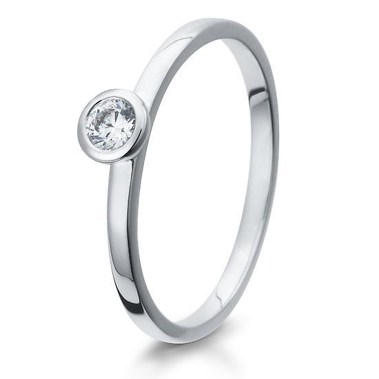 Solitär Ring Silber mit Zirkonia Breuning 41/05293