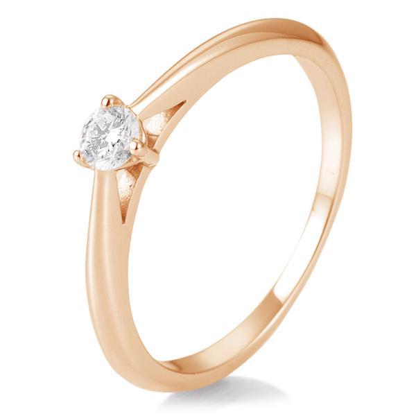 Breuning Solitärring Verlobungsring Rotgold Diamant 0.150 ct. w/si 3er Krappe 41/86623