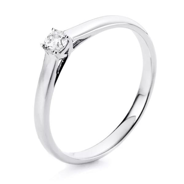DiamondGroup Solitär Ring 4er-Krappe 18 kt Weißgold - 1A440W854-11