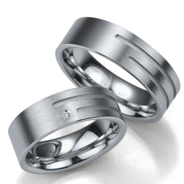 Breuning Silberringe Verlobungsringe mit Platin. 08003 08004