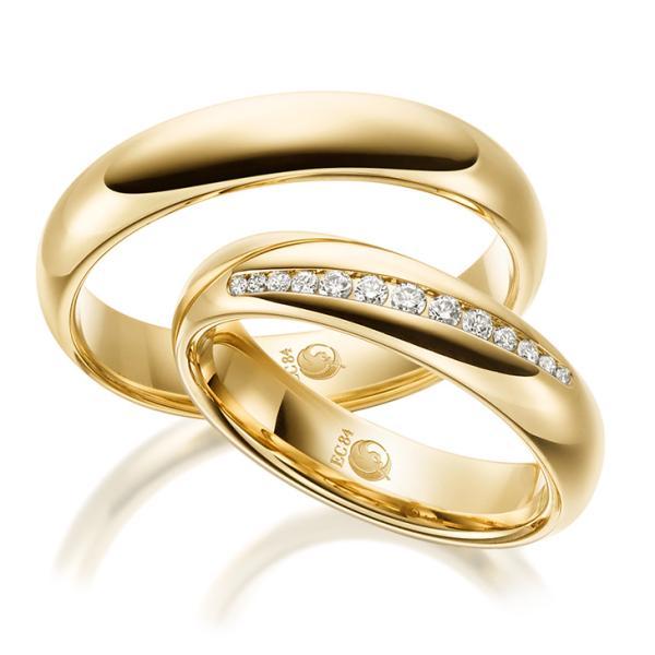 Rubin Trauringe 1527-1 Gelbgold Gold Brillant Eheringe