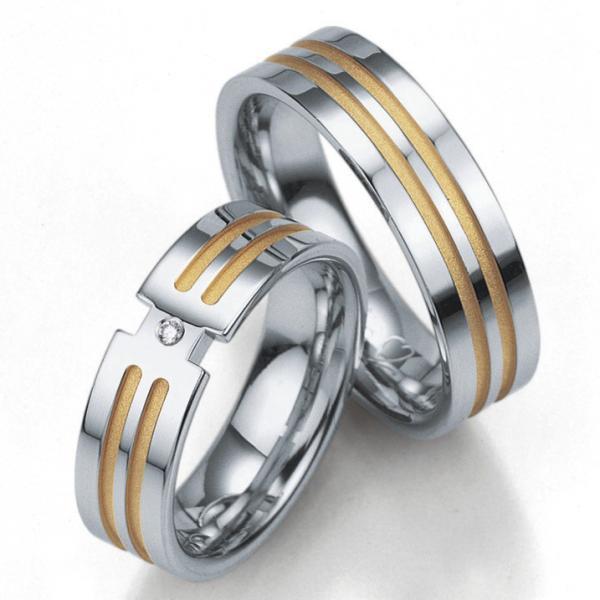 Breuning Silberringe Verlobungsringe mit Platin. 08011 08012