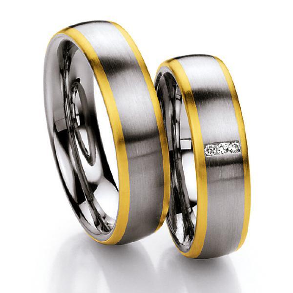 Ruesch Stahl-Gold-Ringe St131B