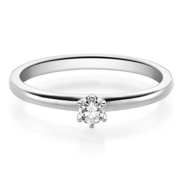 Rubin Verlobungsring 19002 Weißgold Solitär Ring Zirkonia 3 mm