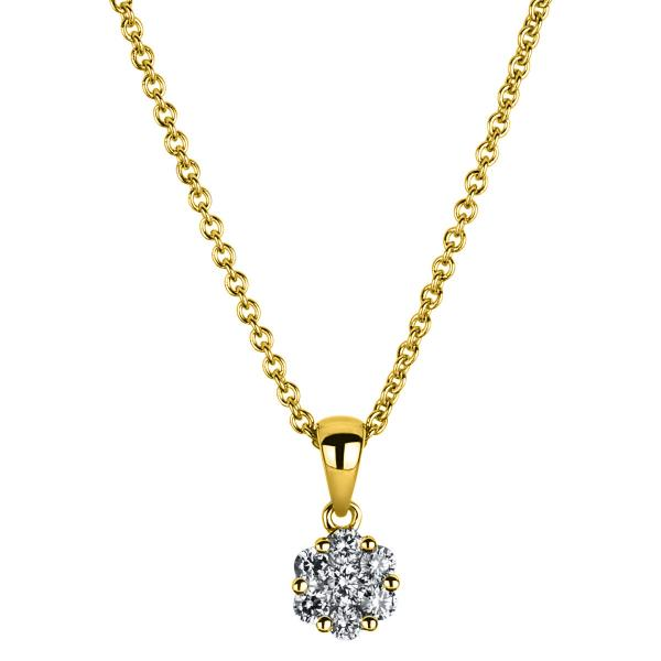 DiamondGroup Diamantcollier Collier 14 kt Gelbgold - 4A221G4-1