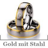 Freundschaftsringe Gold mit Stahl