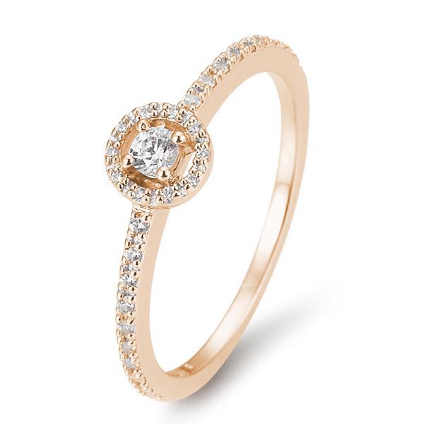 Halo Diamantring Rotgold 585 Breuning 41/05800