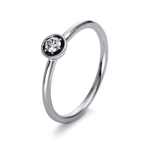 DiamondGroup Ring 6er-Krappe 18 kt Weißgold - 1Q408W854-1