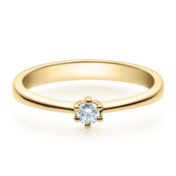 Rubin Verlobungsring 18001 Gelbgold Solitär Ring Zirkonia 3 mm