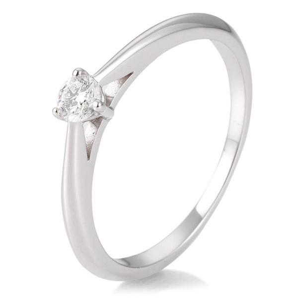Breuning Solitärring Verlobungsring Weißgold Diamant 0.150 ct. w/si 3er Krappe 41/86623