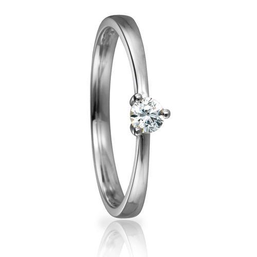 Solitaire Ring 82148 Brillant 0,15 ct Weißgold