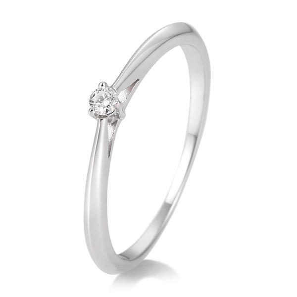 Breuning Solitärring Verlobungsring Weißgold Diamant 0.050 ct. w/si 3er Krappe 41/85768