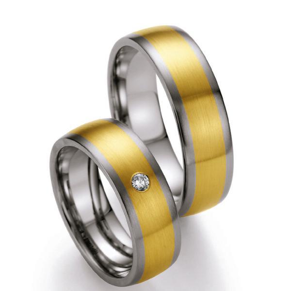 Ruesch Edelstahl und Gelbgold 585 Ringe ST507B