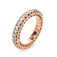 DiamondGroup Ring 4er-Krappe 18 kt Rotgold, Flex-Band, variabel, rhodiniert - 1J195R853-8