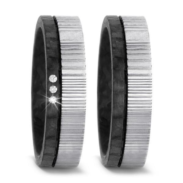 Titanfactory Trauringe aus Carbon & Damaszener Stahl - 52540