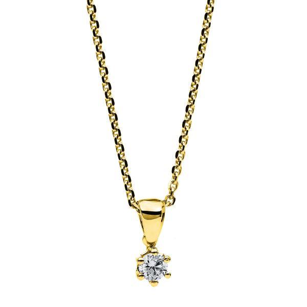 DiamondGroup Diamantcollier Collier 6er-Krappe 14 kt Gelbgold - 4A709G4-1