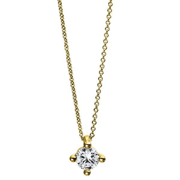 DiamondGroup Diamantcollier Collier 4er-Krappe 18 kt Gelbgold - 4D245G8-1