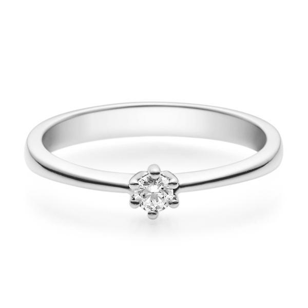 Rubin Verlobungsring 18001 Weißgold Solitär Ring 0.100 ct.