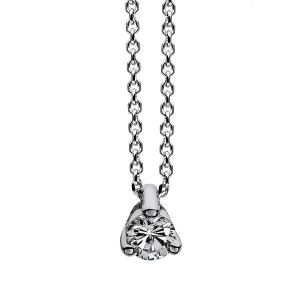 DiamondGroup Diamantcollier Collier 3er-Krappe 14 kt Weißgold - 4A019W4-1