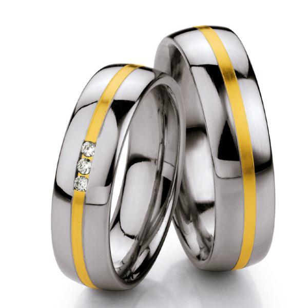 Ruesch Stahl-Gold-Ringe St132B
