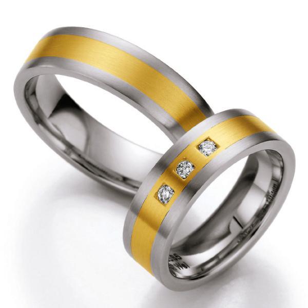 Ruesch Edelstahl und Gelbgold 585 Ringe ST508B