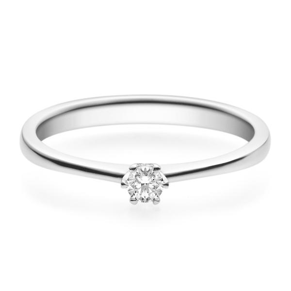 Rubin Verlobungsring 18016 Weißgold Solitär Ring 0,100 ct.