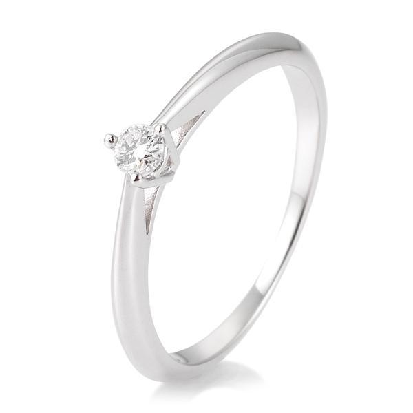 Breuning Solitärring Verlobungsring Weißgold Diamant 0.100 ct. w/si 3er Krappe 41/85806