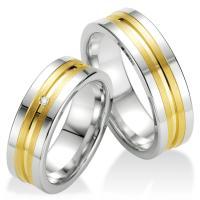 Breuning Trauringe / Partnerringe Silber 925 mit Gelbgoldplattierung - 48/08031 & 48/08032