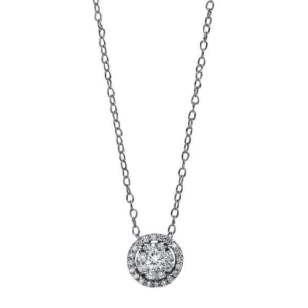 DiamondGroup Diamantcollier Collier 18 kt Weißgold, Ankerkette - 4D938W8-2