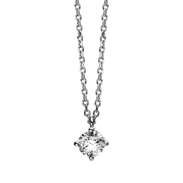 DiamondGroup Diamantcollier Collier 4er-Krappe 14 kt Weißgold - 4C777W4-1