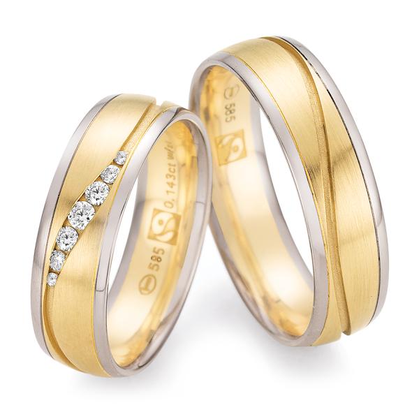 Ruesch Trauringe Weißgold 585 & Gelbgold 585 Fairtrade 33/30130 & 33/30140