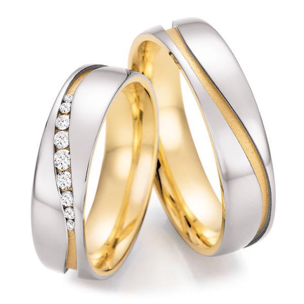 Trauringe Bicolor Honeymoon Collection Ruesch 66/42150 & 66/42160 Weißgold Gelbgold