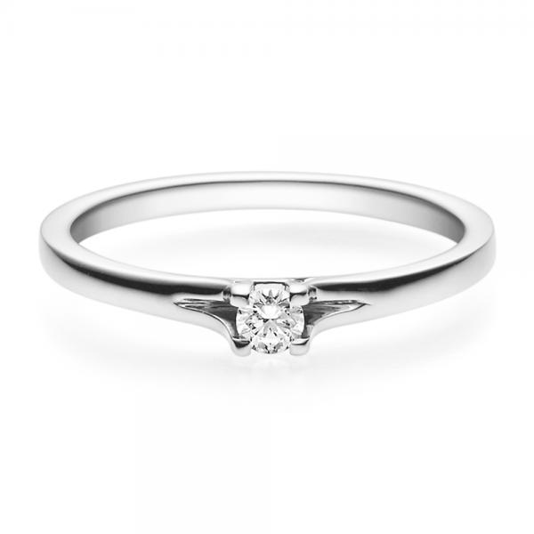 Rubin Verlobungsring 18020 Platin 950 Solitär Ring 0,100 ct. tw/si